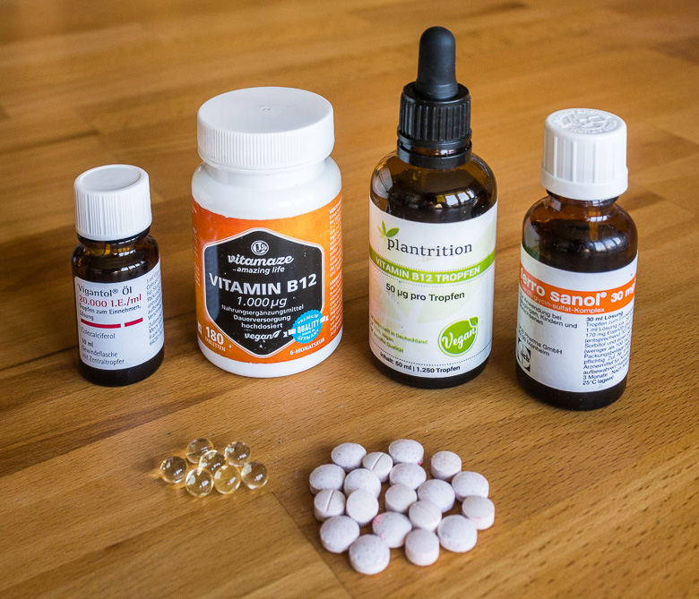 Various supplements: vitamin B12, vitamin D, iron